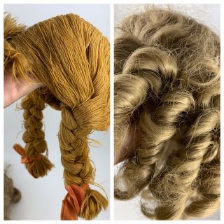 Vintage Doll Wigs (one Yarn Pigtails & One Curly Synthetic Hair)