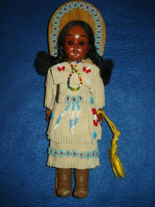 Vintage Carlson Sacagawea Native American Indian Doll And Papoose W/ Carlson Tag