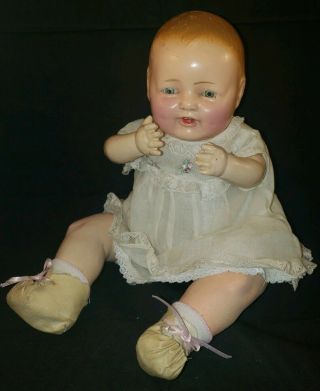 "Baby Bubbles Type Unmarked Composition/cloth Doll 14 "" Open Mouth,  Tin Eyes"