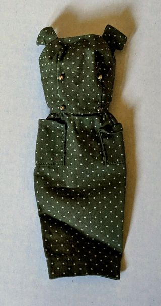 Pak Sheath With Gold Buttons 1962 Olive Green Dress Vintage Barbie Doll 60