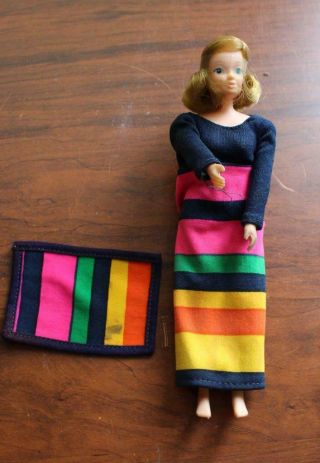 Vintage 1973 Kenner Jenny Jones Doll Striped Dress Rug