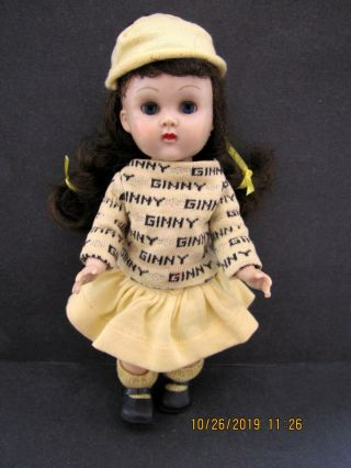 Vintage Brunette Vogue Ginny Walker Doll In Tagged Signature Outfit