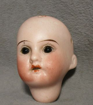 Antique German Tiny Bisque Doll Head - 1907 R/a - Theodore Recknagel