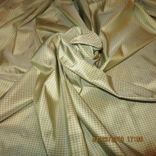 "Tissue Silk Taffeta Gingham 1/32 "" Green/cream Miniature Antique Doll Dress"