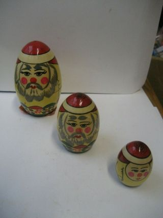 Vintage Russian Folk Art Santa Claus - Christmas Nesting Figurines/dolls - With Tag