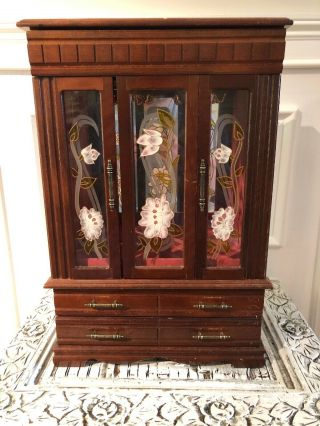 Vintage Table Top Wood And Glass Curio Display Cabinet Case