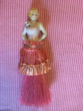 "Vintage Boudoir Brush "" My Lady "" Pink Brush,  Length 7.  5 "" Tall"