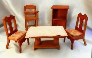 Vintage Wooden Doll House Dining Room Set Table Chairs Highchair Small Hutch