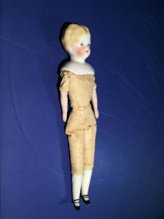 Antique China Bisque Doll Head Blonde Marked 9? Full Body & Face