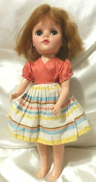 "Vintage Eegee Fashion Doll 14 "" Rubber Head/hp Body,  Sleepy Eyes Museum Find"