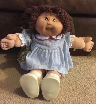 Vintage Coleco Cabbage Patch Kid Brown Hair And Blue Dress