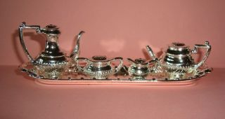 Dollhouse Miniature 5 Pc Silver Tone Coffee Tea Service Set