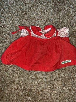 Vintage Cabbage Patch Kids Doll Clothes: Red Shoulder Ties Dress Tagged