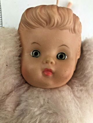 Vintage Cuddle Toys Douglas Pink Baby Doll Vinyl Head Ribbon Pony Tail