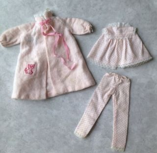 Vintage Skipper 1909 Dreamtime Doll Outfit Pajamas Bath Robe Pants Top Pink Dots