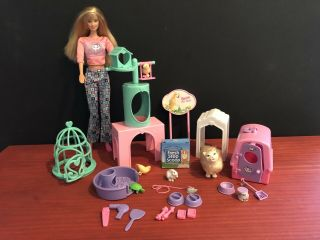 Barbie Doll - Barbie Kitty Fun With Marshmallow Cat & Barbie Pet Shop Toys 1998