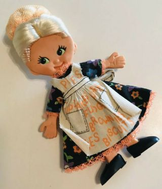 Vintage 1969 Ideal Bendy Flatsy Doll Judy Flat Pies On Dress Baking Apron Outfit