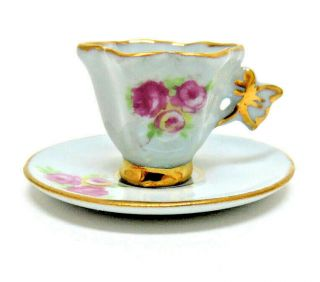 Vintage Dollhouse Miniature Leneige China Blue Cup And Saucer W Butterfly Handle