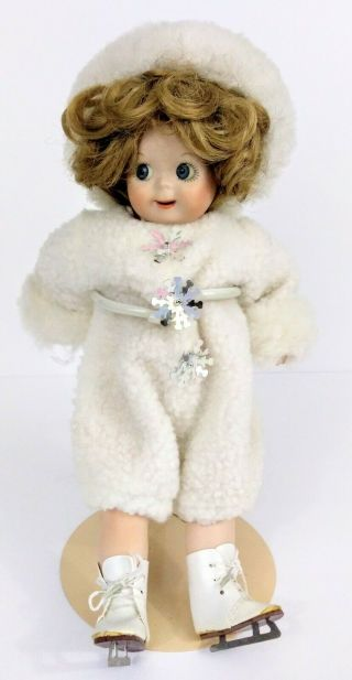Vintage Bisque Jointed Baby Doll Ice Skater 12 ""