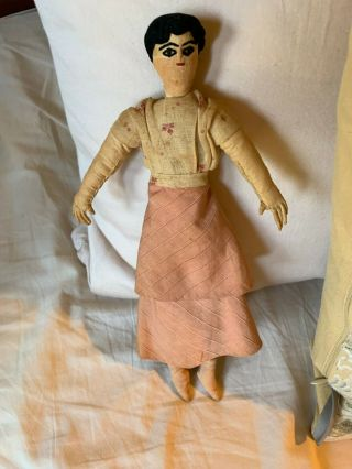 Antique Cloth Folk Art Rag Girl Doll - 11 ""
