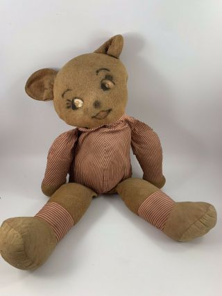 Vintage Well Loved Stuffed Teddy Bear Floppy Bear