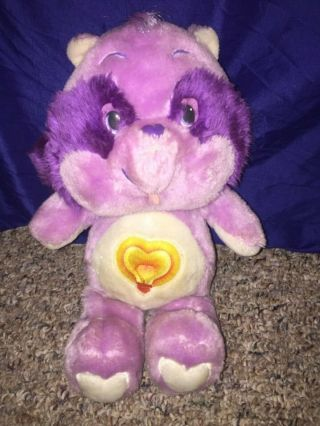 "Vintage 1983 Kenner Care Bears Cousins Bright Heart Raccoon 13 "" Plush Doll"