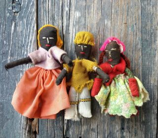 3 Small Mini Jamaican Voodoo Ethnic Handcrafted Cloth / Rag Dolls