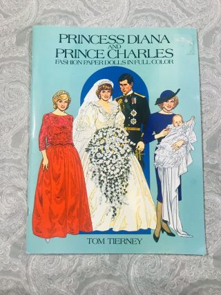 Princess Diana & Prince Charles Royal Fashion Paper Dolls Book Tierney
