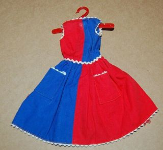 Vintage 1963 Model 943 Mattel Barbie Fancy Blue Red Dress With Label