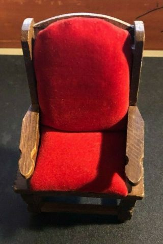 Wooden Doll House Furniture - Red Velvet Accent Chair - Vintage Primitive Wood