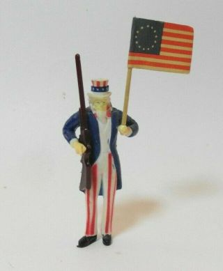 1:12 Scale Dollhouse Miniature Unique 2nd Amendment Gun Toting Uncle Sam & Flag