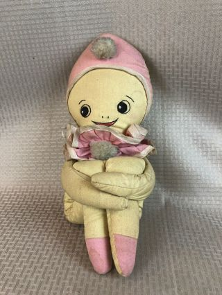 Antique Kewpie Cloth Stuffed Doll With Googley Eyes And Cuddle Legs