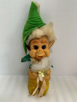 Vintage 1969 Shekter Leprechaun Troll W/ Cape And Good Luck Coin