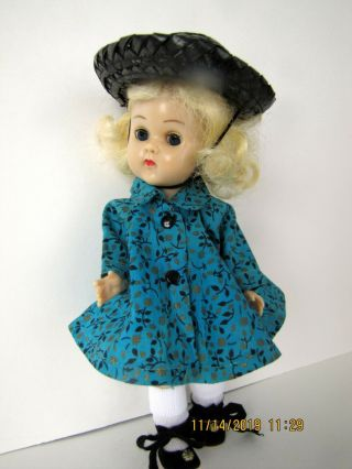 Vintage Vogue Blonde Ginny Molded Lash Bent Knee Walker In Aqua Coat