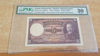 Straits Settlements 5 Dollars 1935 Pmg 30 No Remarks Rare Note