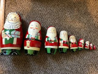 Vintage Russian Santa Claus Christmas Nesting Dolls Wooden Set Of 9