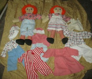 Vintage 24 Inch Tall Raggedy Ann And Andy Dolls & Clothing - Estate Find Handmade