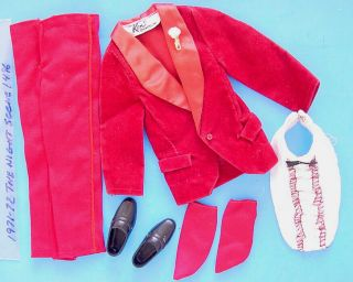 1971 - 72 Ken The Night Scene Burgundy Tuxedo Outfit 1496 Barbie