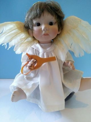 "Lee Middleton Doll Little Angel Boy 14 "" Vinyl Signed Sling Shot Bible Wings"
