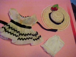 Vintage Ginny Tagged Outfit 1337 Ric - Rac Dress W/straw Hat From 1958