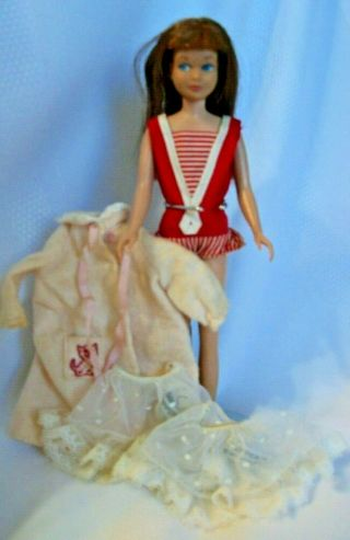Vintage Skipper Doll Barbie 1963 Auburn Hair Straight Leg Clothes Mattel