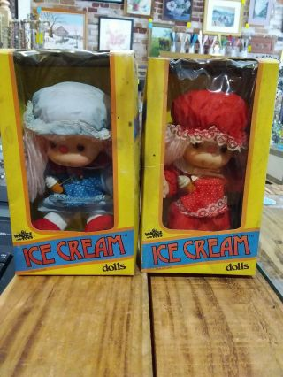 Vintage 1980's Ice Cream Girl Doll Set Pair.  J.  Shin Village Toys 8 ""