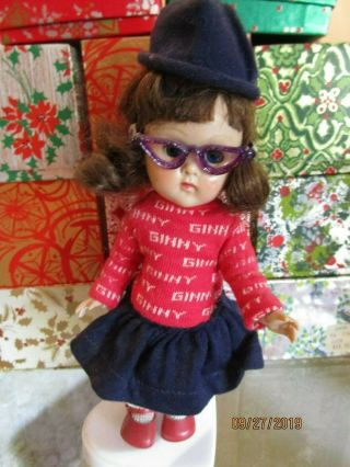 Vintage 1950s Ginny Doll Straight Legs Walker Cat Eye Glasses Red Ginny Sweater