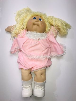 Vintage 1978 1982 Cabbage Patch Doll Blonde Yarn Pink Lace Outfit Blue Eyes