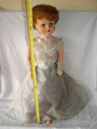 Vintage Doll 28 Inch Soft Feel Skin Vinyl Sleep Eyes Red Lips Dress Shoes
