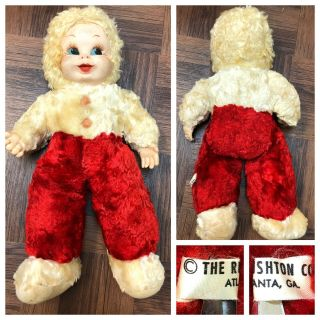Vintage 1960s? Htf Rushton Co Atlanta Ga Baby Doll Snow Suit Red Rubber Face 50s