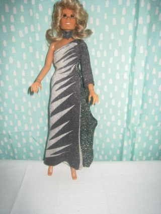 """Vintage Farrah Fawcett Mego Corp 1975 Doll 12 """" With Additional Long Pink Gown"""