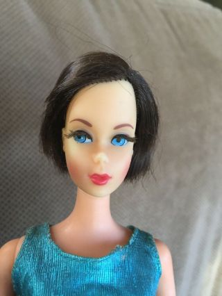 Vintage Mod Tnt Twist & Turn Brunette Hair Fair Barbie Twinkle Togs Outfit Tlc