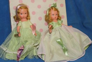 Two Vintage Nancy Ann Bisque Storybook Dolls,  Seasons Series,  Spring 90