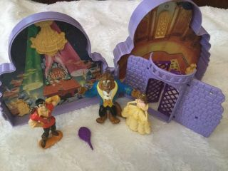 Vintage Polly Pocket Type Disney Beauty And The Beast Toy Castle,  3 Figures